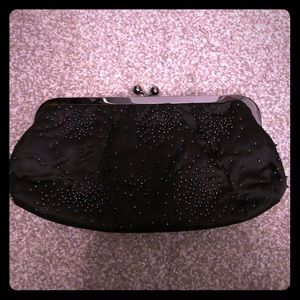 Black Express beaded clutch